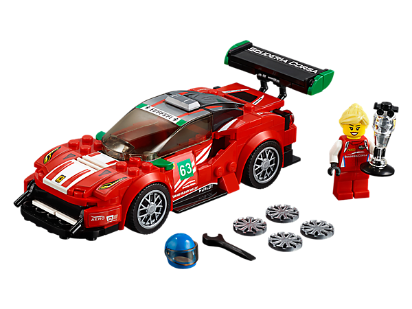 "Power to victory with the LEGO® Speed Champions Ferrari 488 GT3 ""Scuderia Corsa"", featuring authentic design details and a cockpit for the included minifigure, plus a trophy element."