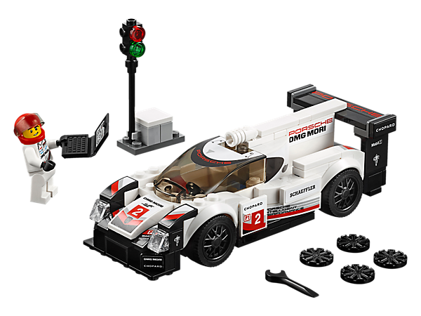 Drive 24/7 with the LEGO® Speed Champions Porsche 919 Hybrid, featuring authentic design details and a cockpit for the included minifigure, plus a start/finish post and laptop element.