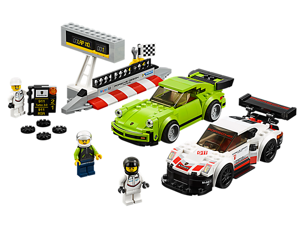 Get set to race the LEGO® Speed Champions Porsche 911 RSR and 911 Turbo 3.0 cars, with a pit wall, race-position board, lap counter, checkered flag element and 3 minifigures.