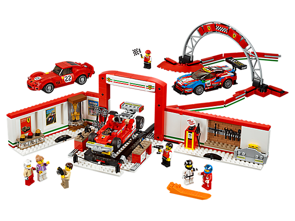 Show off LEGO® Speed Champions versions of the Ferrari 250 GTO, 488 GTE and historic 312 T4 cars at the Ferrari Ultimate garage, with a workshop/museum, racetrack and 7 minifigures.