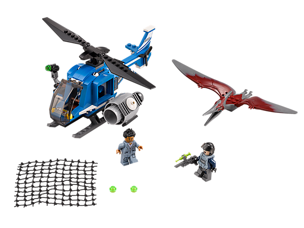 Perform a LEGO® Jurassic World Pteranodon Capture with the Jurassic One helicopter with opening side door, platform and huge net shooter.