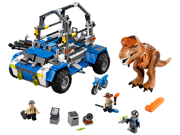 Capture the T. rex with the LEGO® Jurassic World T. rex Tracker with trap shooter and dino cage, plus a motorbike and 3 minifigures.