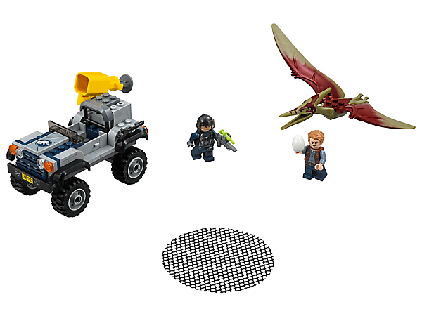 Lead an exciting Pteranodon Chase with Owen and the tracker in the high-speed offroader with a net shooter, tranquilizer gun and 2 minifigures.