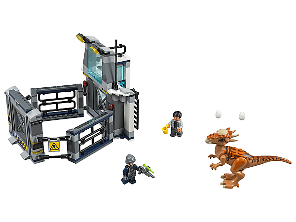 Set the scene for a dino escape, featuring a laboratory with an observation deck and connected enclosure pen, plus 2 minifigures and a Stygimoloch figure.
