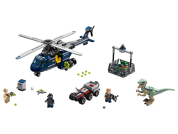 Bring back Blue in a daring chase, featuring a helicopter with rotating blades, dinosaur cage, quadbike, 3 minifigures and a Velociraptor figure.