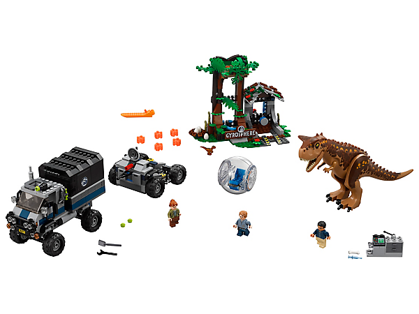 Keep your cool and escape the Carnotaurus and lava rocks in this sizzling set, featuring a truck with trailer, overgrown Gyrosphere station, Gyrosphere, 2 dinosaur figures and 3 minifigures.