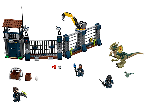 Look out for the advancing Dilophosaurus, featuring a hunters' outpost fence with exploding gate and wall functions, movable crane with crate, 3 minifigures and 2 dinosaur figures.