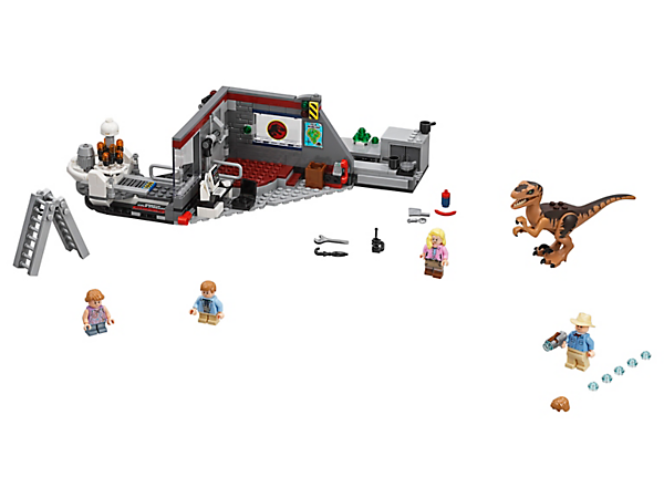 Stay out of sight of the Velociraptor with this classic LEGO® set featuring a control room with a lockable door and a cupboard to hide in, plus 4 minifigures and a dinosaur figure.