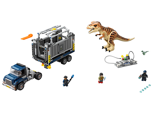 Get the T. rex back safely into the transporter, featuring a detachable container with opening and lockable side panels, mobile lab, 3 minifigures and 2 dinosaur figures.
