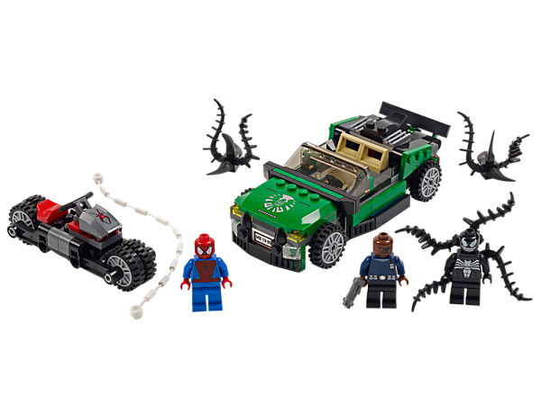 <p>Speed after Venom™ and recover Nick Fury's stolen S.H.I.E.L.D. flying car with <i>Spider-Man™</i> and his Spider-Cycle with folding wheels!</p>