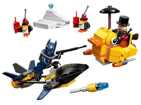 Build the LEGO® <i>Batman</i>™: The Penguin Face Off set with scuba vehicle, duck boat, harpoon, umbrella and robot penguins.