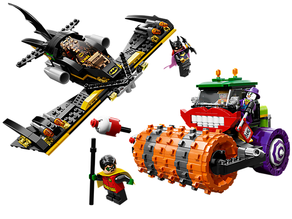 Help <i>Batman</i>™, <i>Batgirl</i>, <i>Robin</i> and the <i>Batwing</i> stop The Joker and his goon with LEGO® Super Heroes <i>Batman</i>™: The Joker Steam Roller!
