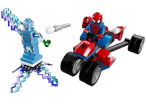 Nimm es mit dem Schurken Electro auf und besiege ihn mit dem Spider-Trike und seinem kraftvollen Schleudersitz.