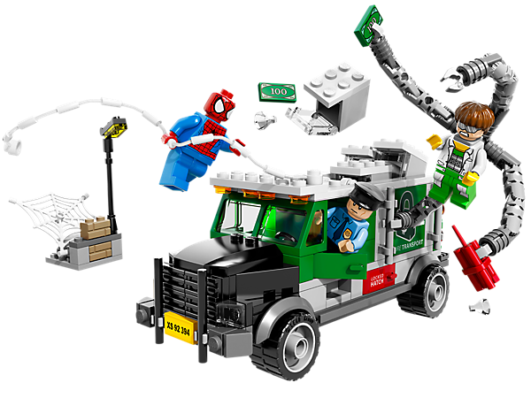 Foil the LEGO® Super Heroes Doc Ock Truck Heist with exploding money truck, removable roof, money, truck driver and Spider-Man and web!