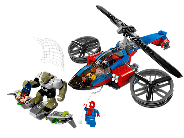 Pit Spider-Man and Power Man against the evil Green Goblin to protect Mary Jane in a daring LEGO® Super Heroes Spider-Helicopter Rescue!