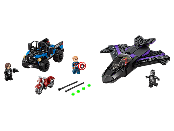 Target Winter Soldier's motorbike with the Black Panther Jet's 2 stud shooters. Set also includes Captain America's 4x4 with a spring-loaded shooter and 3 minifigures.