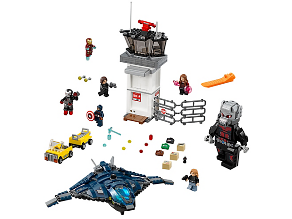 Escape in the stud-shooting Quinjet from the airport featuring a control tower with 2 explode functions. Includes 6 minifigures and a buildable Giant Man figure.