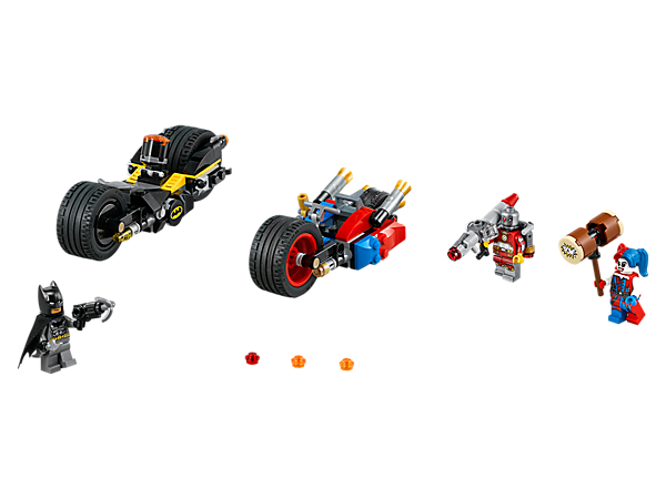 Chase Harley Quinn's bike on Batman's Batcycle, featuring rubber tires and rotating stud shooters. Includes a hammer, Batarang, stud-shooting bazooka and 3 minifigures.