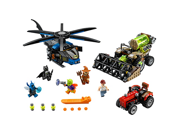 <p>Deploy and fire the Batcopter's pop-out stud shooters to defeat Scarecrow™ and save the tractor-driving farmer from capture in the harvester's fear gas tank. Includes 5 minifigures.</p>