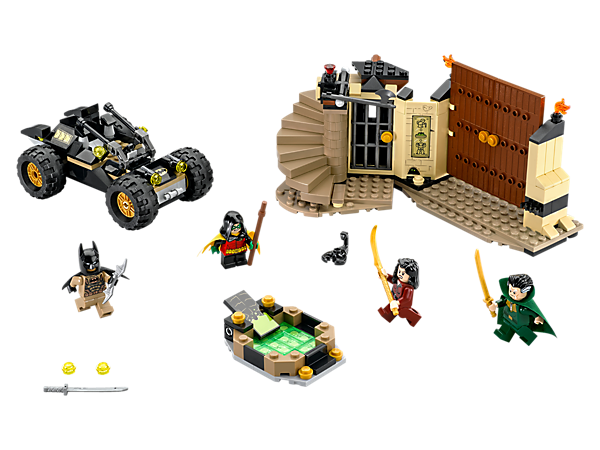 Storm Ra's al Ghul's secret HQ with Desert Batman's Buggy featuring 2 stud shooters, and avoid the traps to rescue Robin™. Includes 4 minifigures.