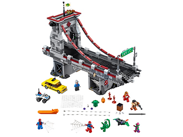 <p>Help the 3 web warriors battle Green Goblin on the bridge to rescue Aunt May, featuring a Goblin Glider, taxi, police ATV, trap door, web prison and 7 minifigures.</p>