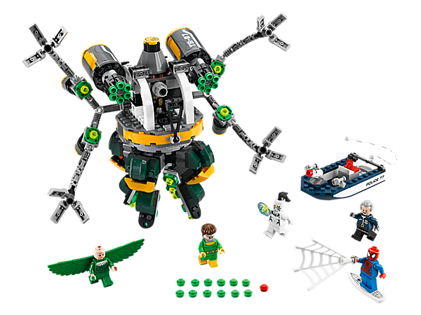 <p>Stage a surfing Spider-Man rescue White Tiger from Doc Ock's Octo-Bot, featuring dual 6-shooting rapid shooters and moving detachable tentacles. Includes 5 minifigures.</p>