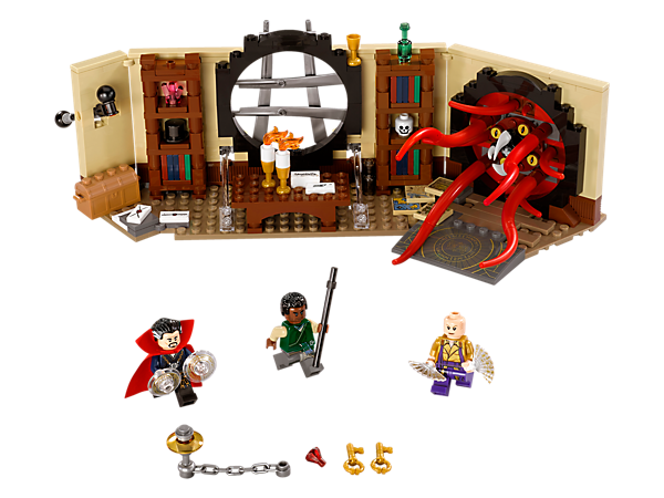 Stage a face-off against the portal beast in Doctor Strange's Sanctum Sanctorum, with levitating function levers and mystical artifacts. Includes 3 minifigures.