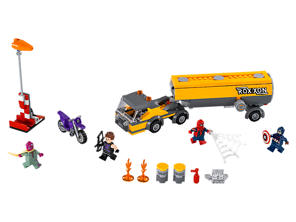 Make sparks fly as Spider-Man and the super heroes battle it out, featuring an exploding tanker truck and barrels, wind sock, Hawkeye's motorbike and 4 minifigures.