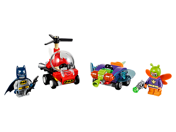 It's bat versus bug! Pit Batman™ and Killer Moth™ against each other in this fun set, featuring two Mighty Micros vehicles, two minifigures with mini legs and two weapons.