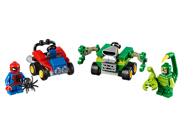 Prepare for poisonous role-play action with arch-rivals Spider-Man and Scorpion, featuring two vehicles, mini-spider, mini-scorpion and two minifigures with mini legs.