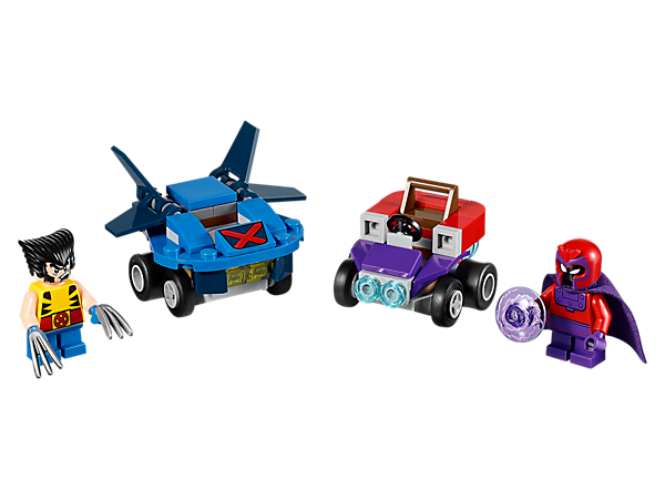<p>Mutant fun awaits as Wolverine and Magneto go head to head in this fun Mighty Micros set, featuring Wolverine's jet, Magneto's magnet-shaped car and two minifigures with mini legs.</p>
