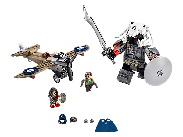 Battle the buildable villainous Ares™ with Wonder Woman™ and Steve Trevor™ in his fighter plane featuring dual flick missiles. Includes 2 minifigures.