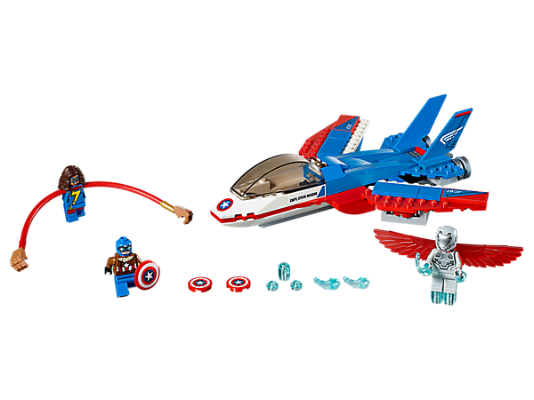 Join the mission to retrieve Captain America's shield, featuring a jet with sweep back wings and dual disc shooters, Power Blasts, Ms. Marvel's flexible arms and three minifigures.