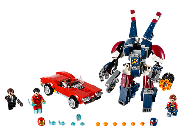Help Iron Man rescue Agent Coulson in his car Lola from Justin Hammer in his posable Detroit Steel mech with chainsaw and 6-stud shooter. Includes 3 minifigures.