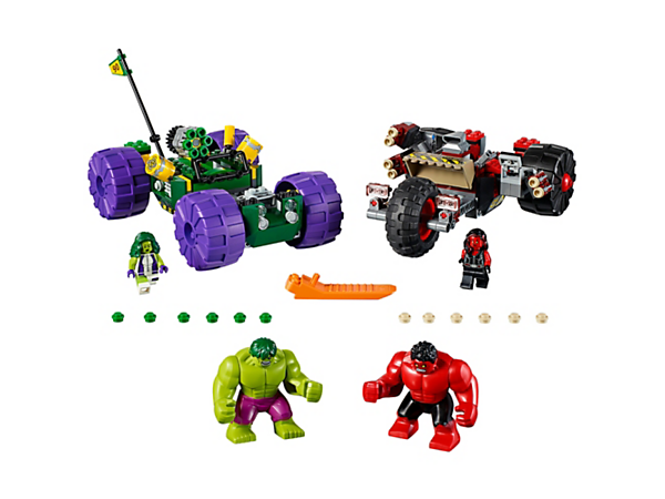 Prepare for endless super hero fun with these robust, smashable vehicles with special jumping Hulk function and onboard stud-firing weapons. Includes 2 minifigures and 2 big figures.
