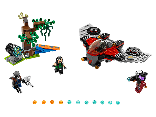 <p>Hide in the forest and fire Rocket and Mantis' six-stud shooter at Taserface's M-ship for an exciting cosmic showdown. Includes three minifigures.</p>