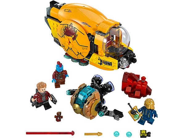 Save Star-Lord from Ayesha in this exciting play set, featuring Laser Drill and Golden Drone spaceships, three minifigures and a Groot figure.