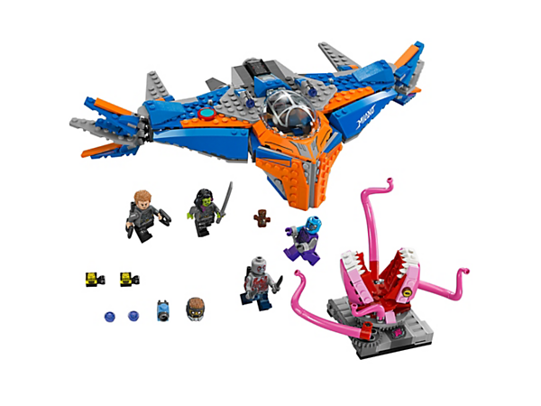 <p>Retrieve the Annulax batteries from the Abilisk monster with moving tentacles, Milano spaceship with stud shooters, movable wings, dropping bombs and opening cockpit, plus four minifigures and a Groot figure.</p>