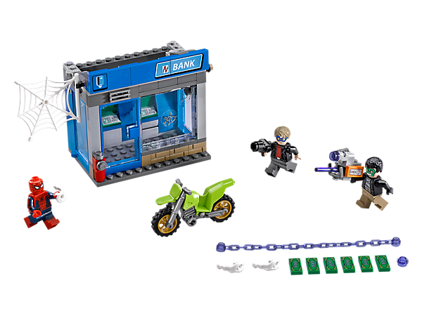 Fire Spider-Man's Power Blasts to stop the masked robbers stealing the ATM. Includes a stud-shooting ATM Buster, cash-launching ATM, getaway bike and 3 minifigures.