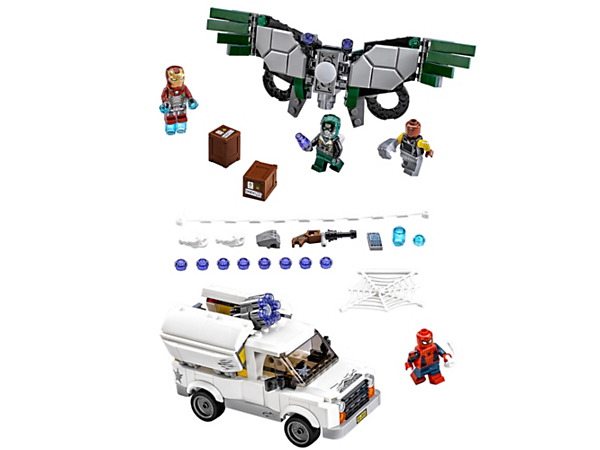 Join Spider-Man and Iron Man to intercept the Vulture's stud-shooting attacks and stop The Shocker's van with 6-stud rapid shooter and buildable rifle. Includes 4 minifigures.