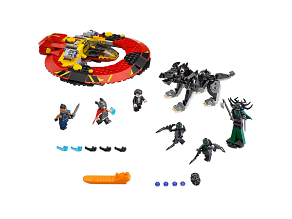 Pilot the Commodore, with its stud shooters and minifigure-drop function, and join Thor, Bruce Banner and Valkyrie in battle against Hela and the Fenris wolf. Includes 6 minifigures.