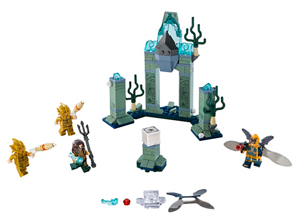 Join Aquaman's battle against the Parademon™ for the Mother Box, with an Atlantis scene, grand arch, 2 pillars, Super Jumper and 4 minifigures with weapons.