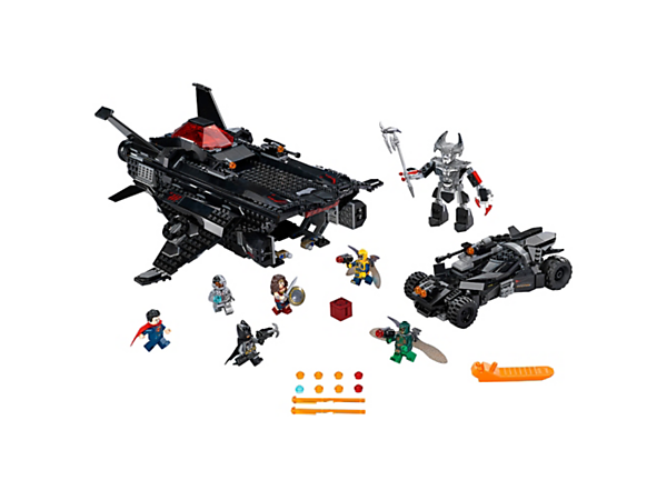 Overpower the Parademons with The Flying Fox's 2 spring-loaded shooters and 2 stud shooters, and the Batmobile's 3 stud shooters. Includes 6 minifigures and a big figure.