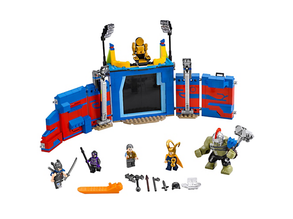 Create a Thor vs. Hulk clash in the arena, with a sliding gate, secret weapons rack, toppling pillars and knock-over throne. Includes 4 minifigures and a Hulk big figure.