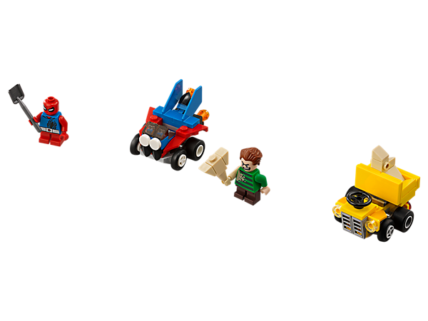 Speed into an epic Mighty Micros: Scarlet Spider vs. Sandman battle, featuring Spider Jet and Sand Loader vehicles, 2 minifigures with mini legs, sand mallet and spade element.