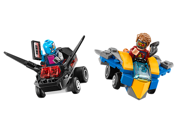 Get set for a galactic Mighty Micros: Star-Lord vs. Nebula duel, with Star Lord's Milano, Nebula's Necrocraft, 2 minifigures with mini legs, a space blaster and mixtape element.
