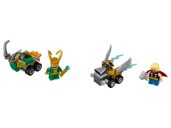 Gear up for a brotherly Mighty Micros: Thor vs. Loki clash, featuring 2 Mighty Micros vehicles, 2 minifigures with mini legs, Loki's scepter and Thor's Mjölnir hammer.