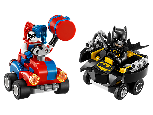 Launch into an epic Mighty Micros: Batman™ vs. Harley Quinn™ battle, featuring Batwing and 'Wind-Up' vehicles, 2 minifigures with mini legs, a grappling hook and mallet.