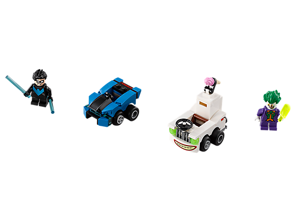Join a Mighty Micros: Nightwing™ vs. The Joker™ chase, featuring The Joker's ice cream truck with an opening trunk and ice cream element, Nightwing's car and 2 minifigures with mini legs.