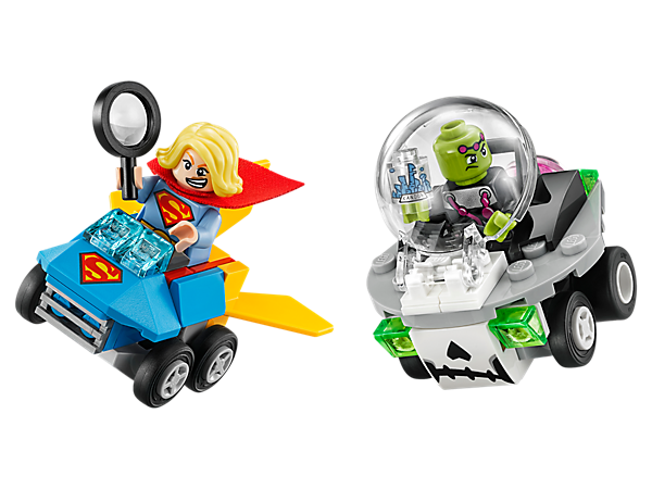 Battle for the shrunken city with the Mighty Micros: Supergirl™ vs. Brainiac™ set, featuring rocket and UFO vehicles, 2 minifigures with mini legs and a magnifying glass element.